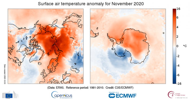 Surface air temperature for November 2020